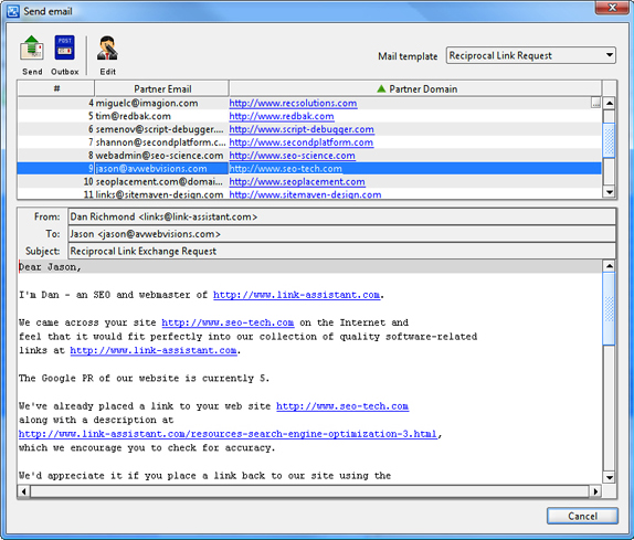 SEO / Keyword Software, LinkAssistant Screenshot