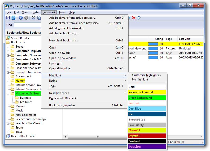 LinkStash, Bookmark Manager Software Screenshot