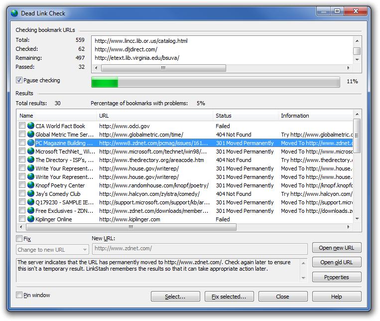 LinkStash, Internet Software Screenshot