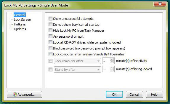 Lock My PC, Security Software Screenshot