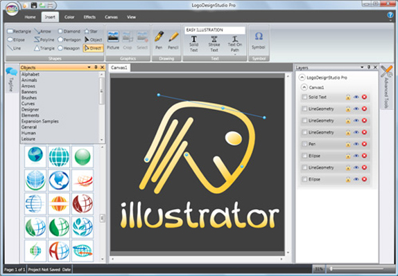 Logo Design Studio Pro Vector, Icons Software Screenshot