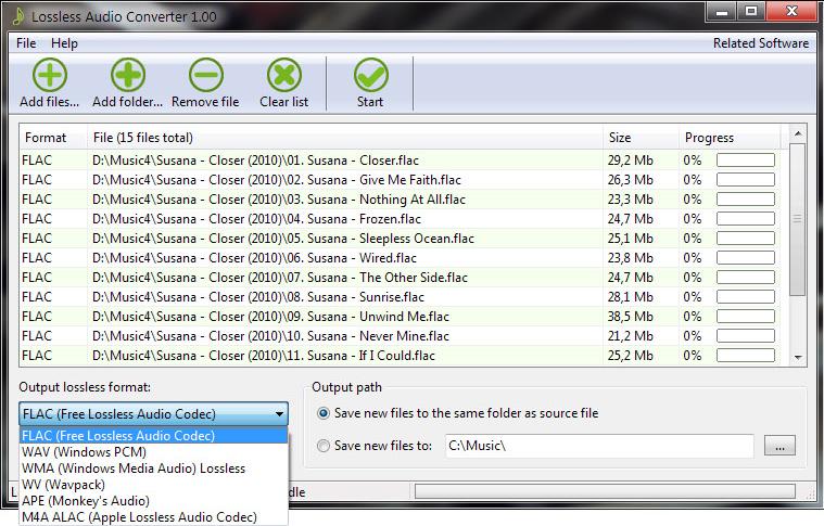 Lossless Audio Converter Screenshot