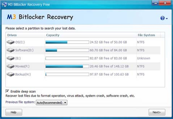 M3 Bitlocker Recovery Professional - Recovery Software for