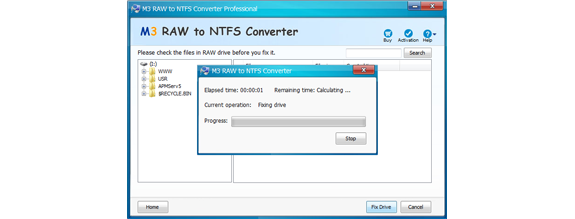 M3 RAW to NTFS Converter, Hard Drive Software Screenshot