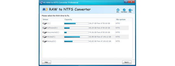 M3 RAW to NTFS Converter Screenshot