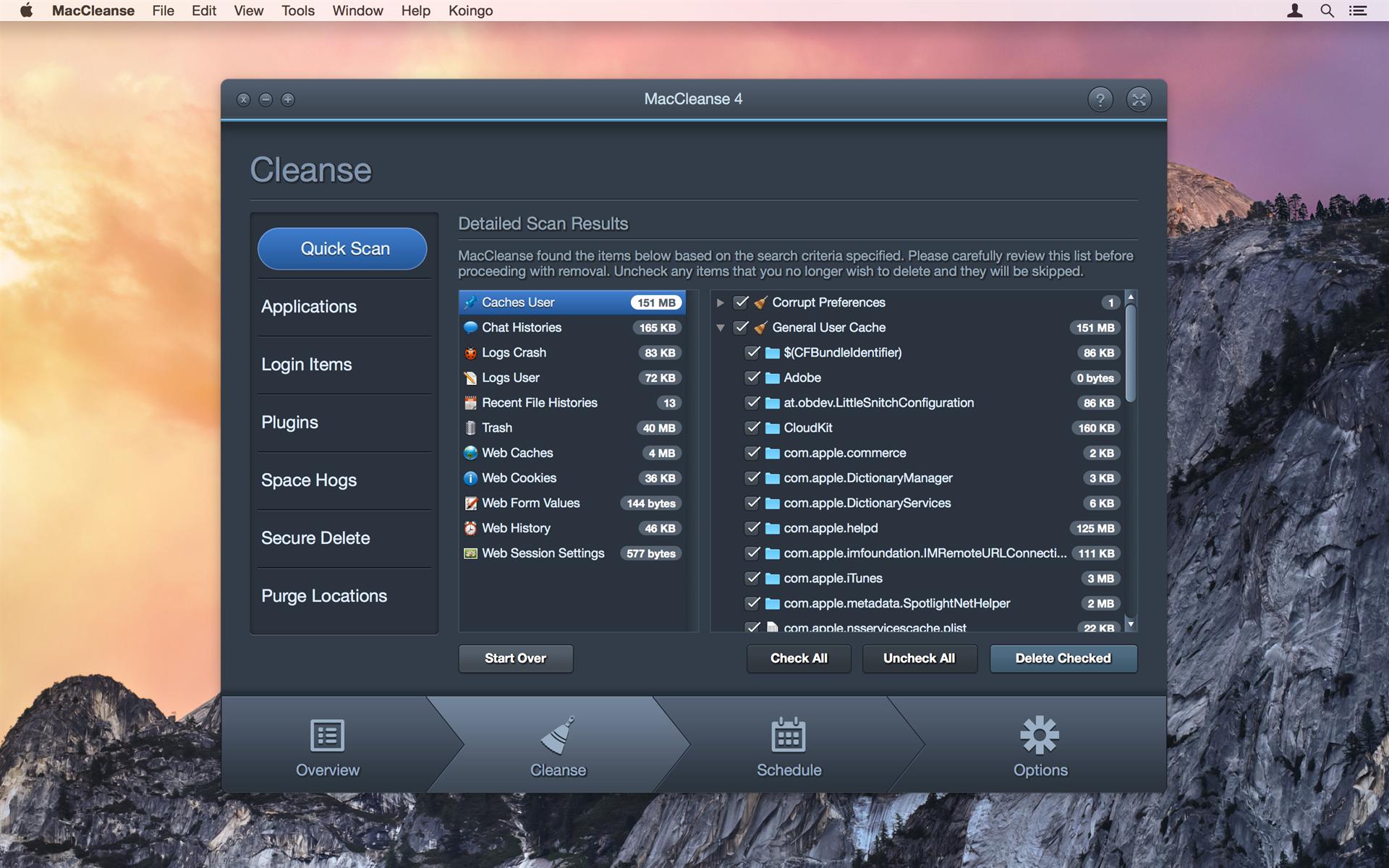 MacCleanse Screenshot
