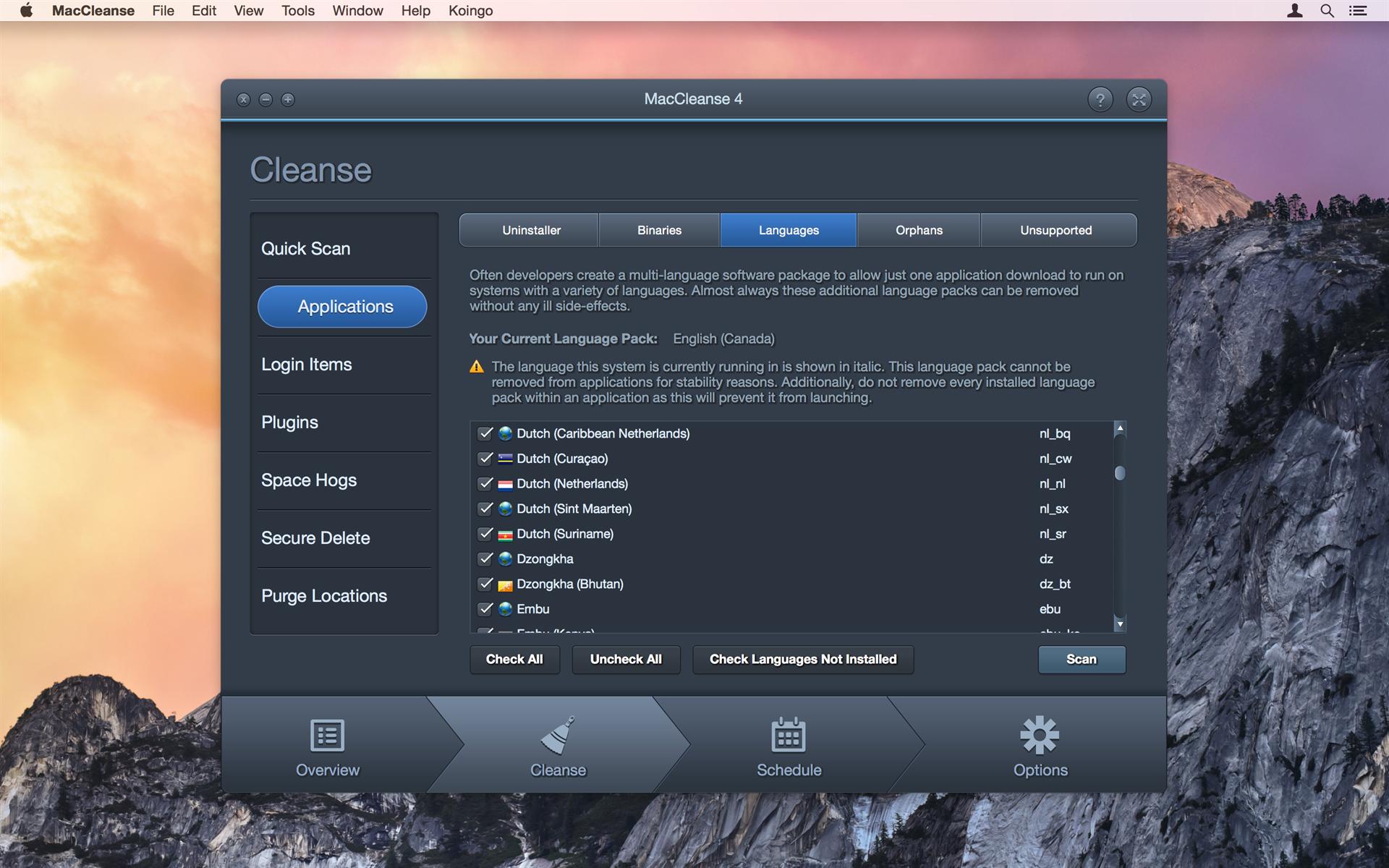 PC Optimization Software, MacCleanse Screenshot