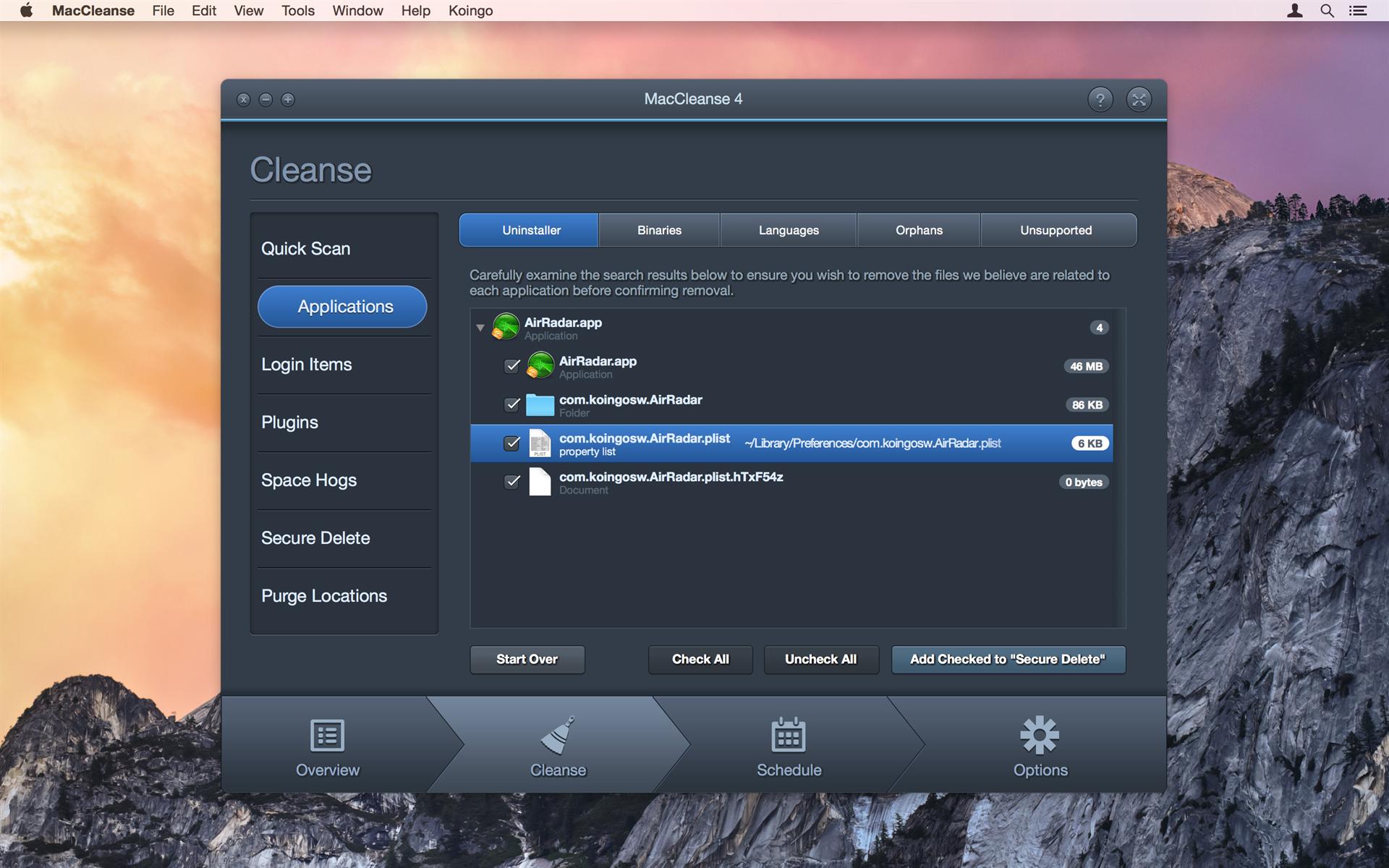 MacCleanse, PC Optimization Software Screenshot