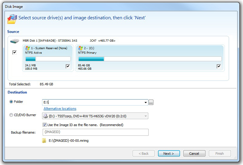 Macrium Reflect Professional, Backup Disk Image Software Screenshot