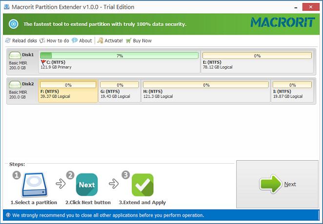 Macrorit Partition Extender Server + Free Lifetime Upgrade Screenshot