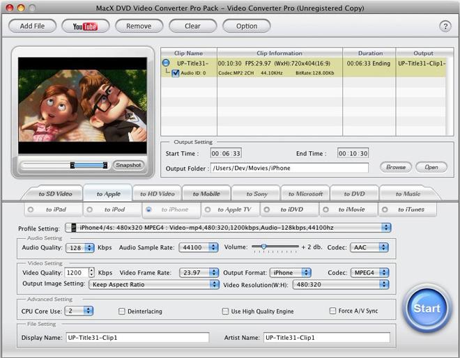MacX DVD Video Converter Pro Pack, Video Converter Software Screenshot