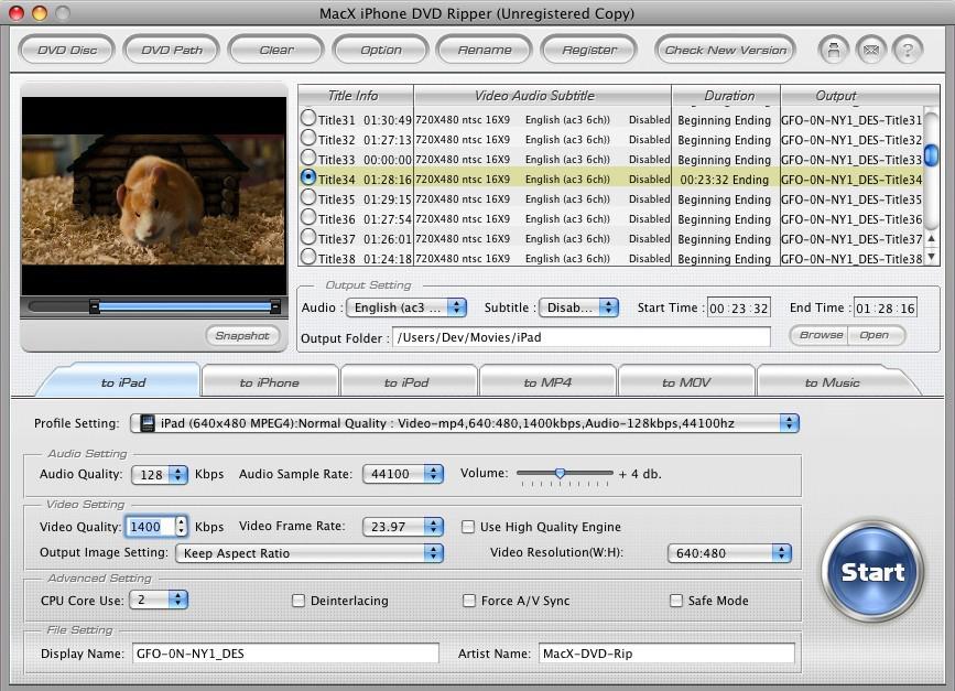 MacX iPhone DVD Ripper for Mac, DVD Ripper Software Screenshot