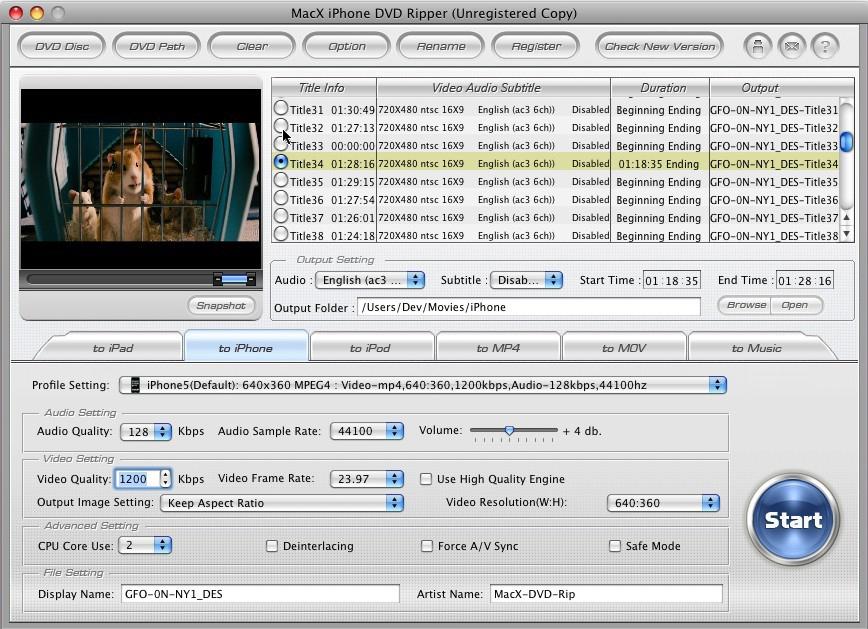 MacX iPhone DVD Ripper for Mac Screenshot