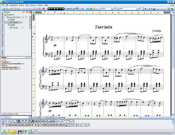 MagicScore School, Recording Studio Software Screenshot