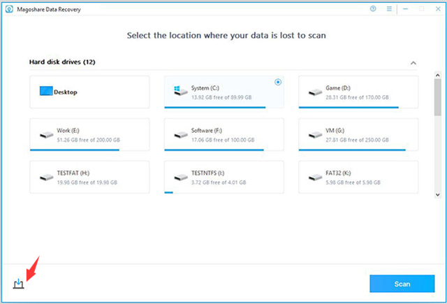 Recovery Software, Magoshare Data Recovery for Windows Screenshot