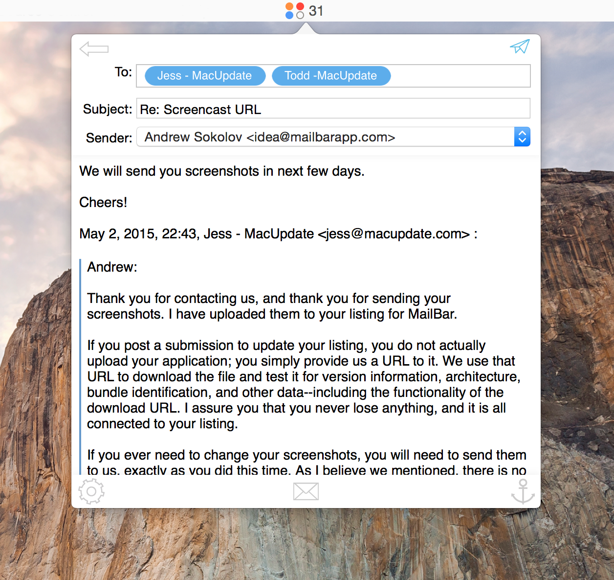 MailBar, Email Client Software Screenshot