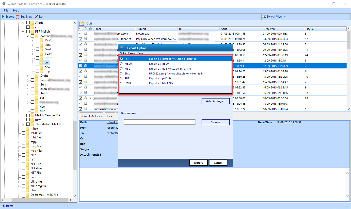 Maildir Converter, File Management Software Screenshot