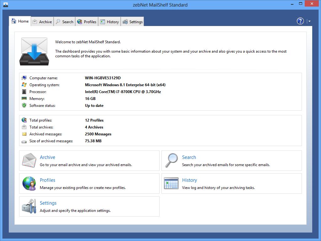 MailShelf Standard Screenshot