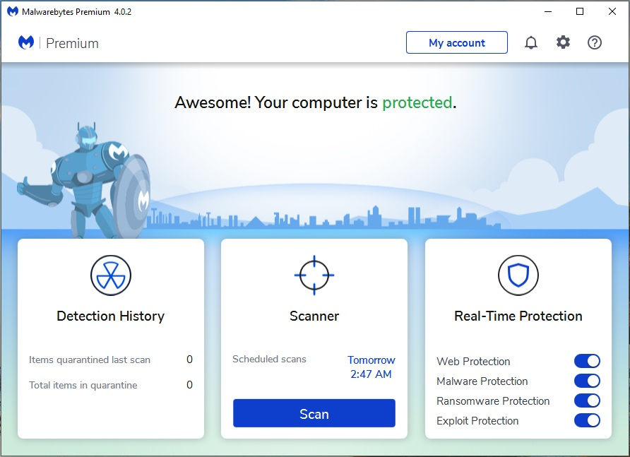 Security Software, Malwarebytes 4 Premium Screenshot