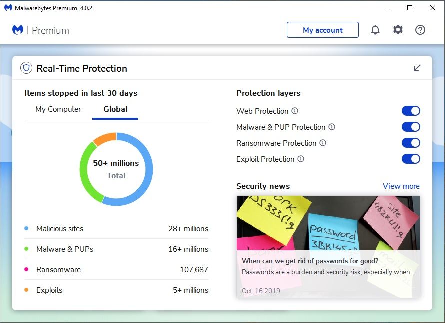 Malwarebytes 4 Premium, Security Software, Antivirus Software Screenshot