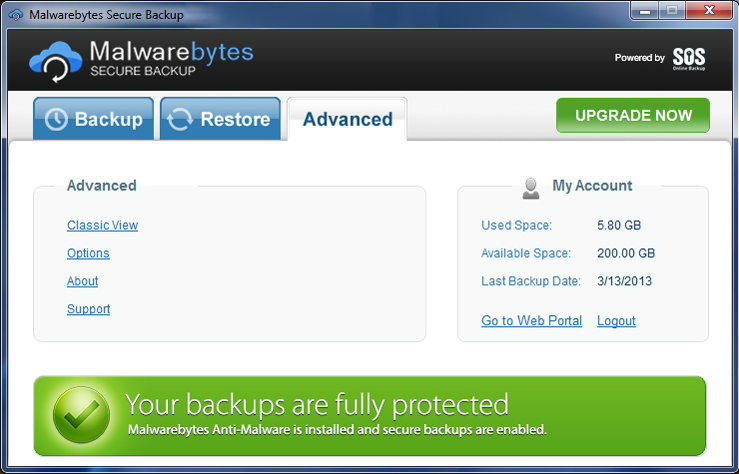 Access Restriction Software, Malwarebytes Secure Backup 50 GB Screenshot