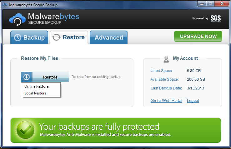 Malwarebytes Secure Backup 50 GB, Security Software Screenshot