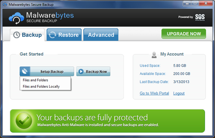 Malwarebytes Secure Backup 50 GB, Access Restriction Software Screenshot
