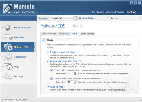 Mamutu, Security Software Screenshot