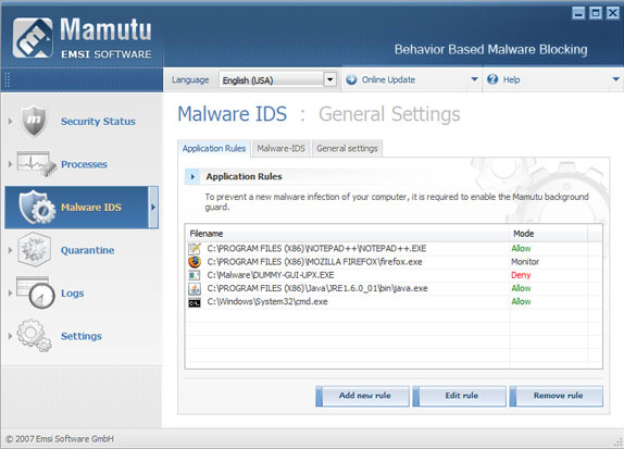 Mamutu, Antivirus Software Screenshot