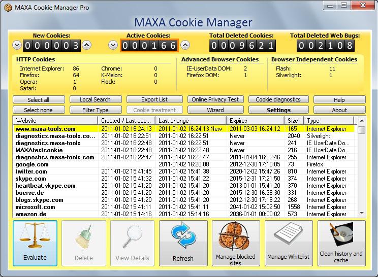 MAXA Cookie Manager Screenshot