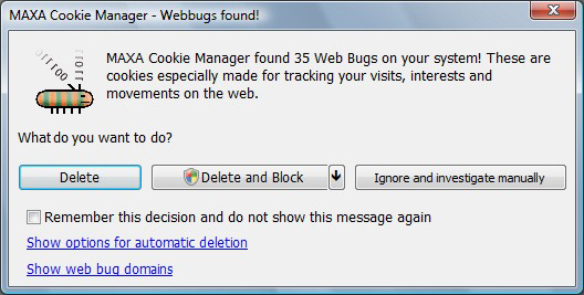 MAXA Cookie Manager, Privacy Software Screenshot
