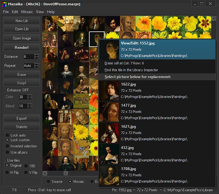 Mazaika, Graphic Design Software Screenshot