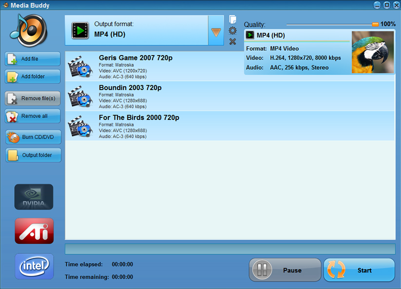 Media Buddy, Video Software Screenshot
