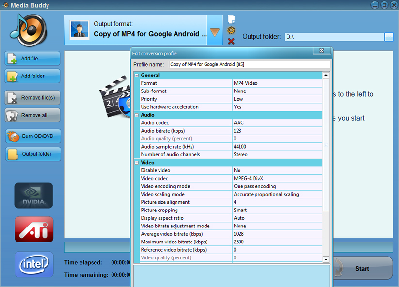 Media Buddy, Video Converter Software Screenshot
