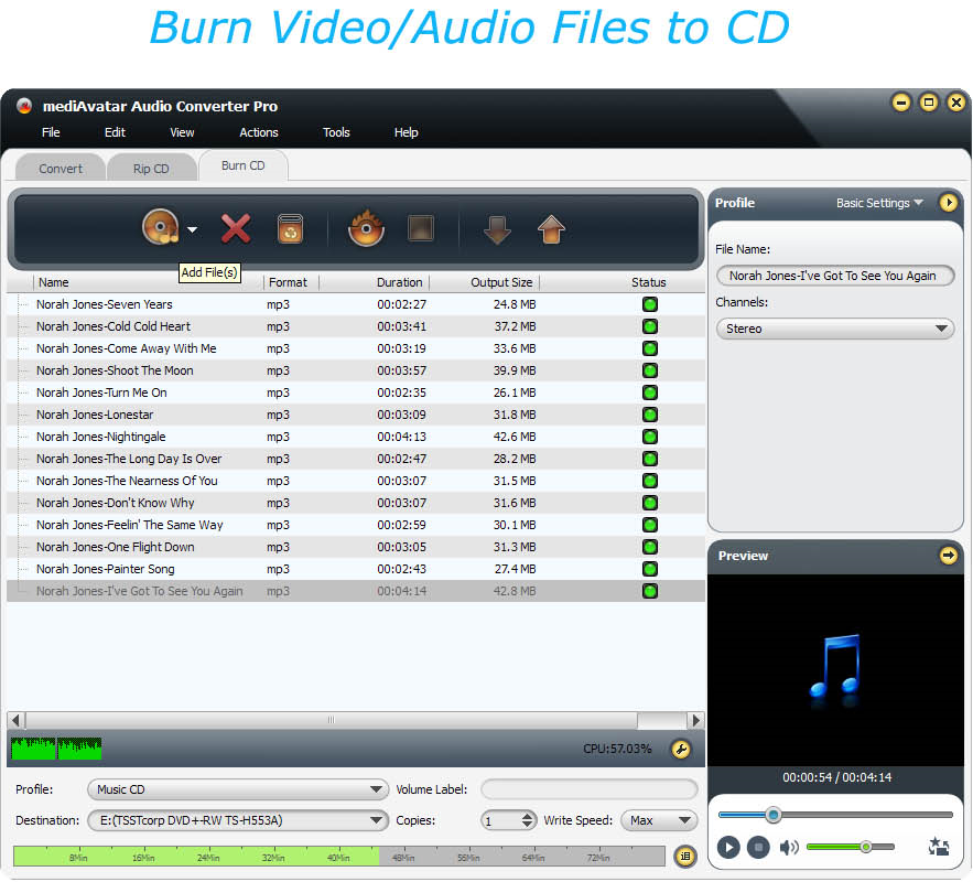mediAvatar Audio Converter Pro, Audio Software Screenshot
