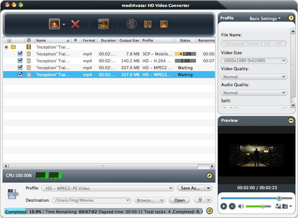 Video Software, mediAvatar HD Video Converter Screenshot
