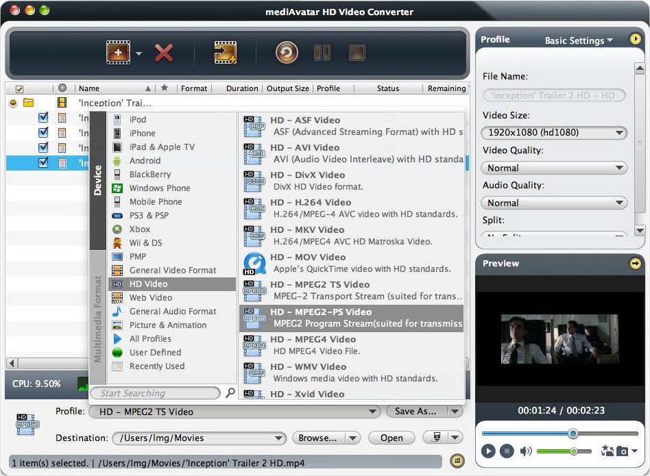 mediAvatar HD Video Converter, Video Software Screenshot