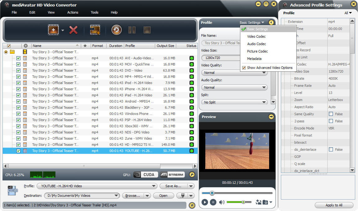 mediAvatar HD Video Converter Screenshot 12