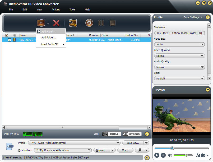 mediAvatar HD Video Converter, Video Software, Video Converter Software Screenshot