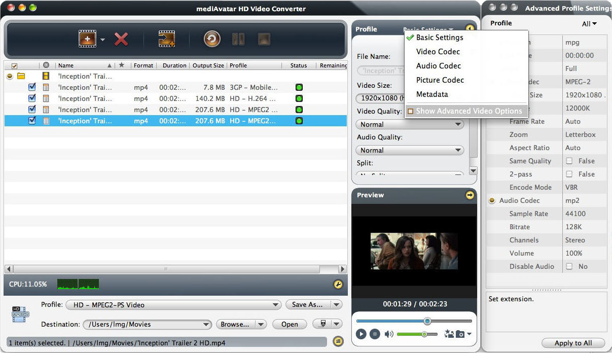 Video Converter Software, mediAvatar HD Video Converter Screenshot