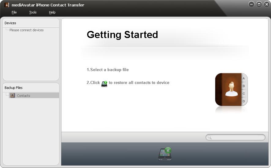 mediAvatar iPhone Contact Transfer Screenshot