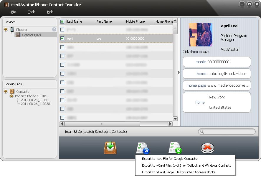 iPod iPhone iTunes Software, mediAvatar iPhone Contact Transfer Screenshot