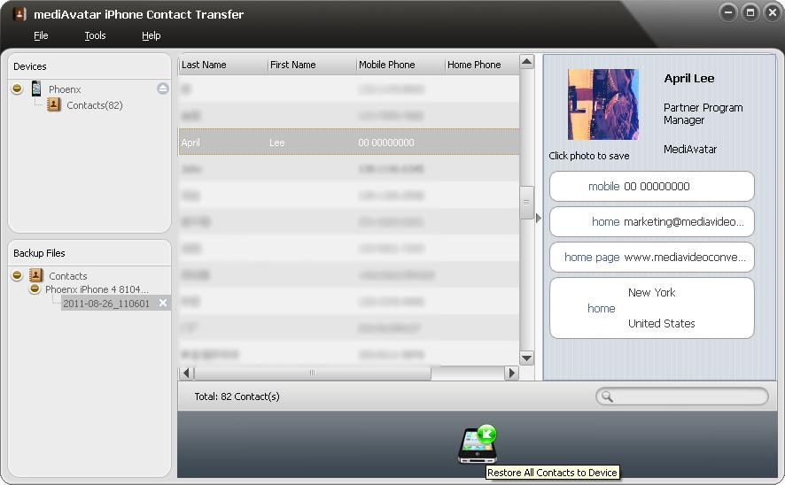 mediAvatar iPhone Contact Transfer, Audio Software Screenshot