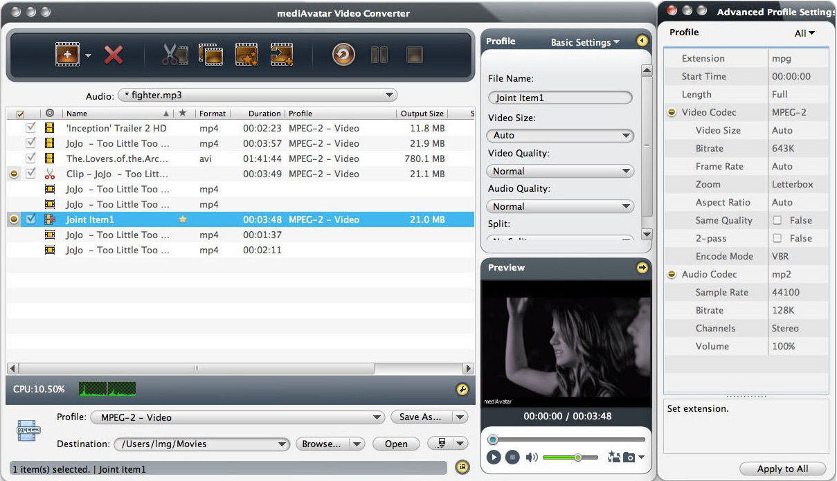 mediAvatar Video Converter Pro, Video Converter Software Screenshot