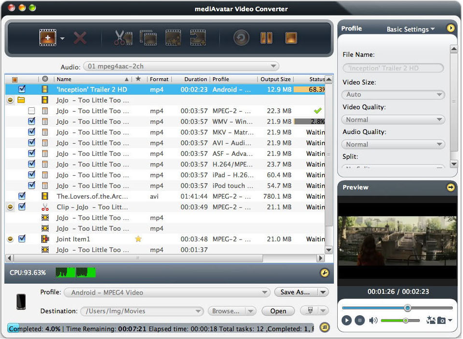mediAvatar Video Converter Pro, Video Software Screenshot