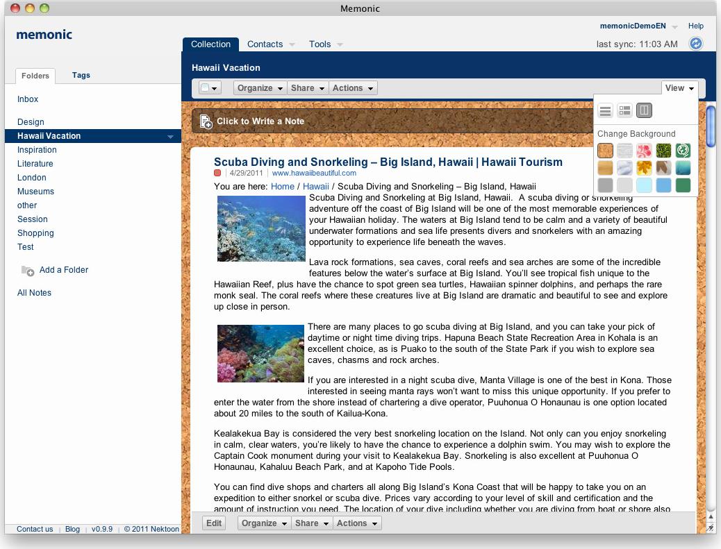 Memonic, Notes Software Screenshot