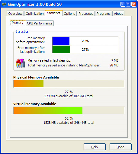 MemOptimizer, Software Utilities Screenshot