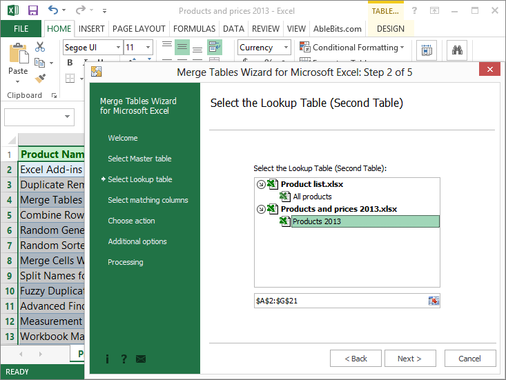 AbleBits: Merge Tables Wizard for Microsoft Excel, Excel Add-ins Software Screenshot