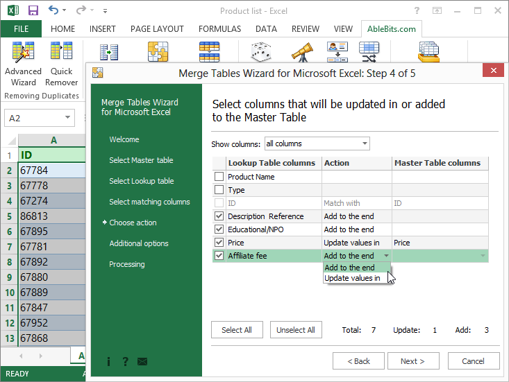 AbleBits: Merge Tables Wizard for Microsoft Excel Screenshot
