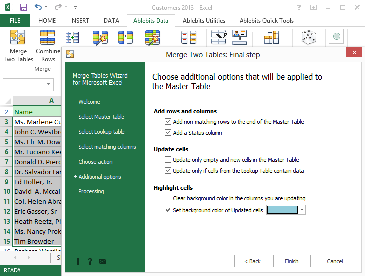 Excel Add-ins Software, AbleBits: Merge Tables Wizard for Microsoft Excel Screenshot